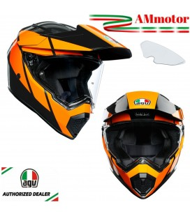 Casco Agv AX9 Trail Gunmetal Orange Da Moto Integrale In Carbonio Max Pinlock Touring