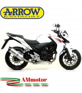 Terminale Di Scarico Arrow Honda CB 500 F 13 - 2015 Slip-On Race-Tech Alluminio Moto Fondello Carbonio