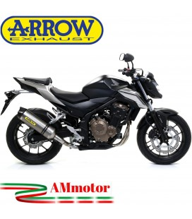 Terminale Di Scarico Arrow Honda CB 500 F 16 - 2018 Slip-On Race-Tech Titanio Moto Fondello Carbonio