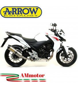Terminale Di Scarico Arrow Honda CB 500 F 13 - 2015 Slip-On Race-Tech Titanio Moto Fondello Carbonio