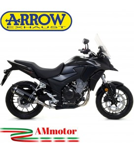 Terminale Di Scarico Arrow Honda CB 500 X 17 - 2018 Slip-On Race-Tech Alluminio Dark Moto Fondello Carbonio