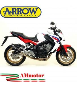 Terminale Di Scarico Arrow Honda CB 650 F 14 - 2018 Slip-On Thunder Alluminio Dark Moto Fondello Carbonio