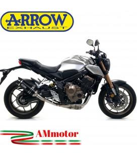 Terminale Di Scarico Arrow Honda CB 650 R 19 - 2020 Slip-On Thunder Alluminio Dark Moto Fondello Carbonio