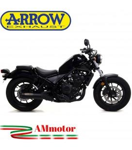 Terminale Di Scarico Arrow Honda Rebel 500 17 - 2019 Slip-On Dark Moto Fondello Carbonio