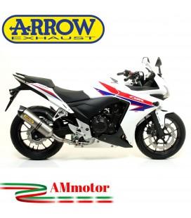 Terminale Di Scarico Arrow Honda Cbr 500 R 13 - 2015 Slip-On Race-Tech Titanio Moto Fondello Carbonio
