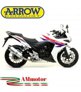 Terminale Di Scarico Arrow Honda Cbr 500 R 13 - 2015 Slip-On Race-Tech Alluminio Moto Fondello Carbonio