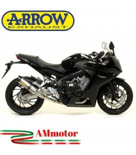 Terminale Di Scarico Arrow Honda Cbr 650 F 14 - 2018 Slip-On Thunder Alluminio Moto Fondello Carbonio