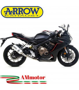 Terminale Di Scarico Arrow Honda Cbr 650 R 19 - 2020 Slip-On Thunder Alluminio Dark Moto Fondello Carbonio