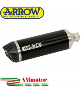 Terminale Di Scarico Arrow Honda NC 750 S 14 - 2015 Slip-On Race-Tech Alluminio Dark Moto Fondello Carbonio