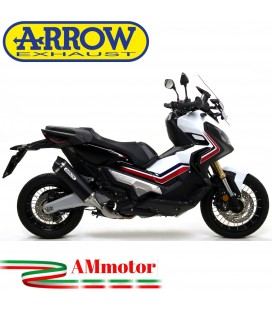 Terminale Di Scarico Arrow Honda X-Adv 750 17 - 2020 Slip-On Race-Tech Alluminio Dark Moto Fondello Carbonio