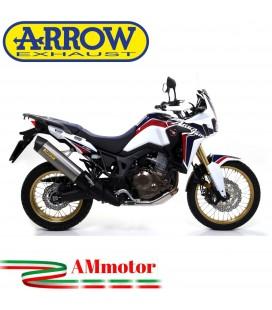 Terminale Di Scarico Arrow Honda Crf 1000L Africa Twin 16 - 2019 Slip-On Maxi Race-Tech Titanio Moto Fondello Carbonio