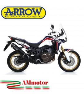 Terminale Di Scarico Arrow Honda Crf 1000L Africa Twin 16 - 2019 Slip-On Maxi Race-Tech Alluminio Dark Moto Fondello Carbonio