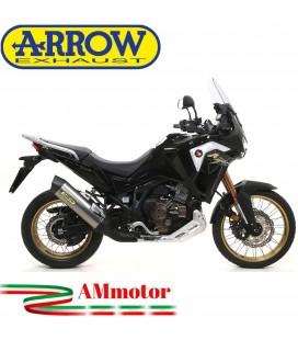 Terminale Di Scarico Arrow Honda Crf 1100L Africa Twin 2020 Slip-On Maxi Race-Tech Titanio Moto Fondello Carbonio