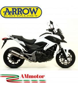 Terminale Di Scarico Arrow Honda NC 750 X 14 - 2015 Slip-On Race-Tech Titanio Moto Fondello Carbonio