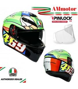 Casco Valentino Rossi AGV K3 SV Top Mugello 2017 Da Moto Integrale Pinlock