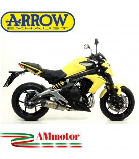 Terminale Di Scarico Arrow Kawasaki ER-6N 12 - 2016 Slip-On Race-Tech Titanio Moto Fondello Carbonio