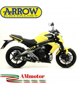 Terminale Di Scarico Arrow Kawasaki ER-6N 12 - 2016 Slip-On Race-Tech Alluminio Dark Moto Fondello Carbonio