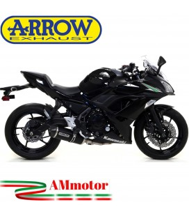 Terminale Di Scarico Arrow Kawasaki Ninja 650 17 - 2019 Slip-On Race-Tech Alluminio Dark Moto Fondello Carbonio