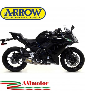 Terminale Di Scarico Arrow Kawasaki Ninja 650 17 - 2019 Slip-On Race-Tech Titanio Moto Fondello Carbonio