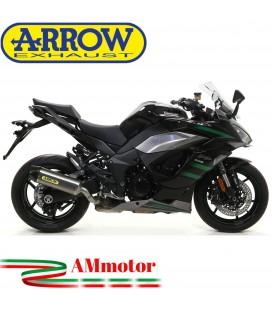 Terminale Di Scarico Arrow Kawasaki Ninja 1000 SX 2020 Slip-On Indy-Race Titanio Moto Fondello Carbonio