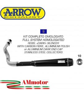 Arrow Kawasaki Vulcan S 650 14 - 2016 Kit Scarico Completo Rebel Con Fondello Alluminio Dark Omologato