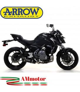 Terminale Di Scarico Arrow Kawasaki Z 650 17 - 2019 Slip-On Race-Tech Alluminio Dark Moto Fondello Carbonio