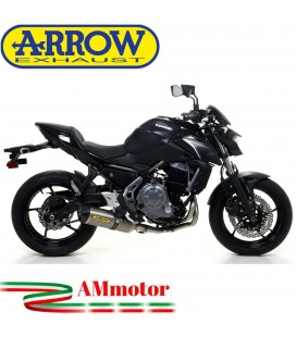 Terminale Di Scarico Arrow Kawasaki Z 650 17 - 2019 Slip-On Race-Tech Titanio Moto Fondello Carbonio