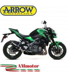 Terminale Di Scarico Arrow Kawasaki Z 900 17 - 2019 Slip-On Race-Tech Alluminio Dark Moto Fondello Carbonio
