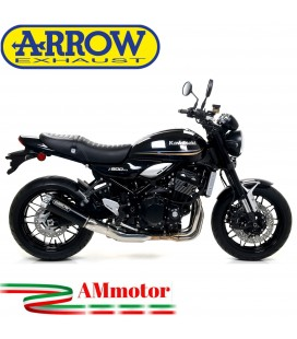 Terminale Di Scarico Arrow Kawasaki Z 900 RS 17 - 2020 Slip-On Rebel Moto Fondello Alluminio Lucido