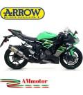 Terminale Di Scarico Arrow Kawasaki ZX-6R 636 19 - 2020 Slip-On Race-Tech Titanio Moto Fondello Carbonio
