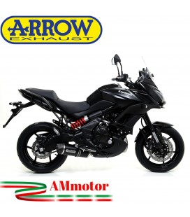 Terminale Di Scarico Arrow Kawasaki Versys 650 15 - 2016 Slip-On Race-Tech Alluminio Dark Moto Fondello Carbonio
