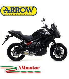 Terminale Di Scarico Arrow Kawasaki Versys 650 15 - 2016 Slip-On Race-Tech Titanio Moto Fondello Carbonio