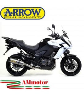 Terminale Di Scarico Arrow Kawasaki Versys 1000 15 - 2016 Slip-On Race-Tech Titanio Moto Fondello Carbonio
