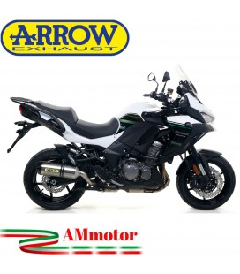 Terminale Di Scarico Arrow Kawasaki Versys 1000 19 - 2020 Slip-On Race-Tech Titanio Moto Fondello Carbonio
