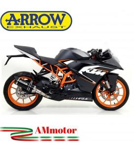 Terminale Di Scarico Arrow Ktm RC 125 15 - 2016 Slip-On Thunder Alluminio Dark Moto Fondello Carbonio