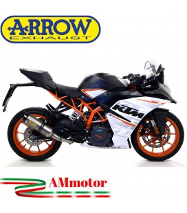 Terminale Di Scarico Arrow Ktm RC 125 17 - 2020 Slip-On Thunder Titanio Moto Fondello Carbonio