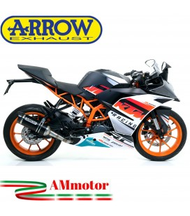 Terminale Di Scarico Arrow Ktm RC 390 15 - 2016 Slip-On Thunder Alluminio Dark Moto Fondello Carbonio