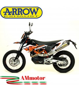 Terminale Di Scarico Arrow Ktm 690 Enduro R 09 - 2016 Slip-On Race-Tech Titanio Moto Fondello Carbonio