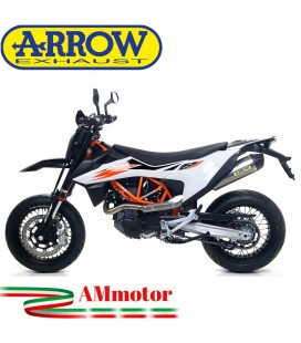 Terminale Di Scarico Arrow Ktm 690 Smc R 19 - 2021 Slip-On Race-Tech Titanio Moto Fondello Carbonio