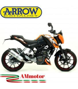 Terminale Di Scarico Arrow Ktm Duke 125 11 - 2016 Slip-On Street Thunder Alluminio Moto Fondello Carbonio