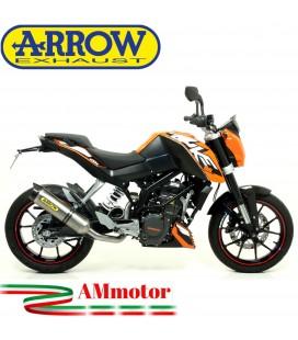Terminale Di Scarico Arrow Ktm Duke 125 11 - 2016 Slip-On Street Thunder Titanio Moto Fondello Carbonio