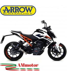 Terminale Di Scarico Arrow Ktm Duke 125 17 - 2020 Slip-On Thunder Alluminio Dark Moto Fondello Carbonio