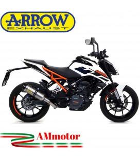 Terminale Di Scarico Arrow Ktm Duke 125 17 - 2020 Slip-On Thunder Titanio Moto Fondello Carbonio