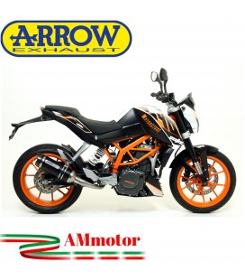 Terminale Di Scarico Arrow Ktm Duke 390 13 - 2016 Slip-On Thunder Alluminio Dark Moto Fondello Carbonio