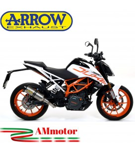 Terminale Di Scarico Arrow Ktm Duke 390 17 - 2020 Slip-On Thunder Titanio Moto Fondello Carbonio