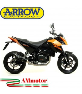 Terminale Di Scarico Arrow Ktm Duke 690 08 - 2011 Slip-On Race-Tech Alluminio Dark Moto Fondello Carbonio