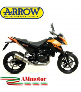 Terminale Di Scarico Arrow Ktm Duke 690 08 - 2011 Slip-On Race-Tech Titanio Moto Fondello Carbonio