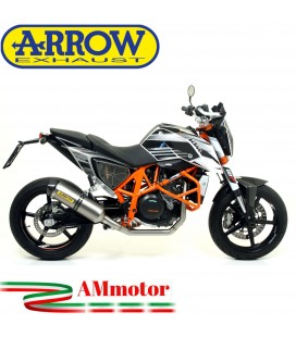 Terminale Di Scarico Arrow Ktm Duke 690 12 - 2015 Slip-On Race-Tech Titanio Moto Fondello Carbonio