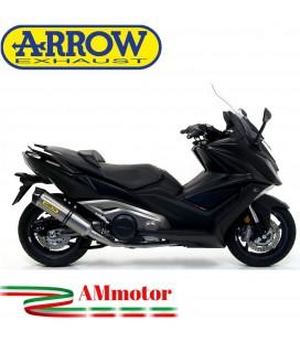 Terminale Di Scarico Arrow Kymco AK 550 17 - 2020 Slip-On Race-Tech Titanio Moto Scooter Fondello Carbonio