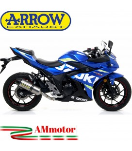 Terminale Di Scarico Arrow Suzuki Gsx 250 R 17 - 2020 Slip-On Race-Tech Titanio Moto Fondello Carbonio